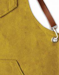 Lækkert forklæde med læderstrop   Safrangul