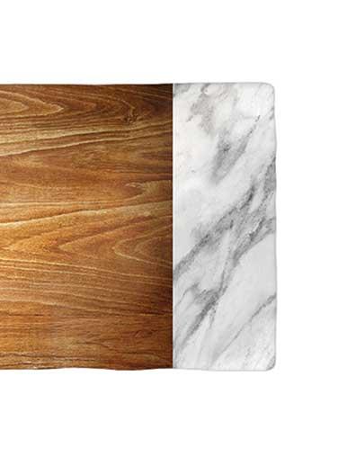 Flot skærebræt med træ & marmor motiv