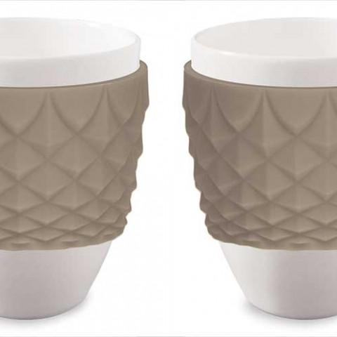 Espressokopper i porcelæn med brun silikone | To stk