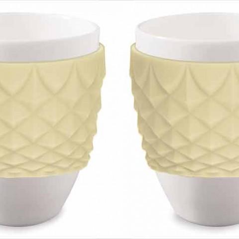 Espressokopper i porcelæn med gul silikone | To stk