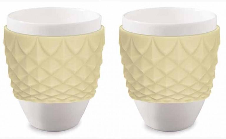 Espressokopper i porcelæn & gul silikone