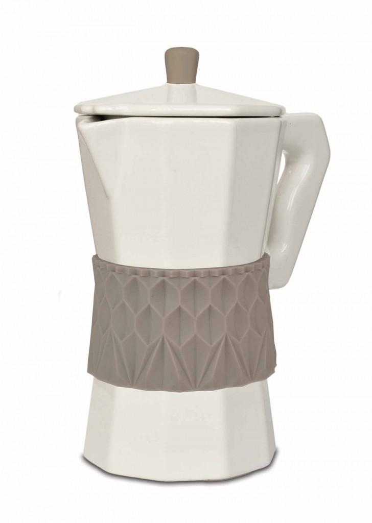 Smuk kaffepot i porcelæn & silikone | gråbrun