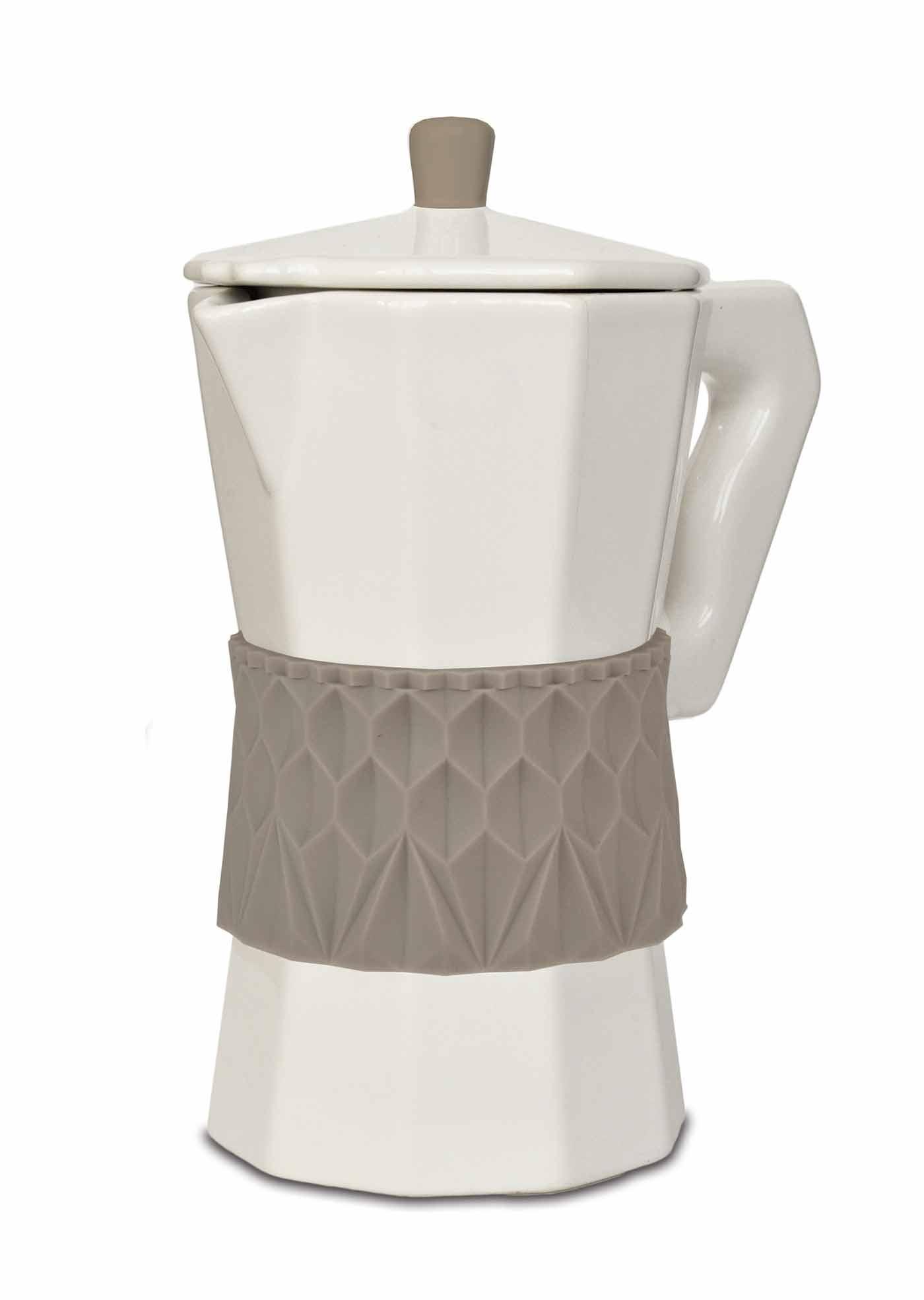 Smuk kaffepot i porcelæn & silikone   gråbrun
