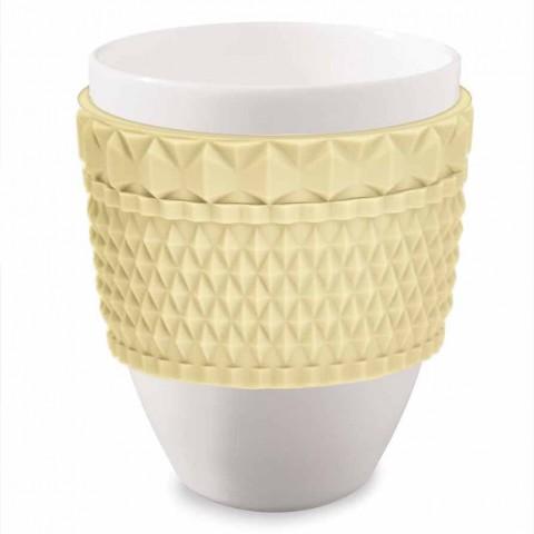 Kaffekrus i porcelæn & gul silikone